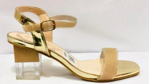Gold Block heel open toe sandals
