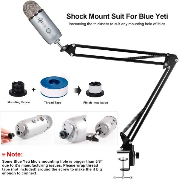 Microphone Suspension Mic Clip Adjustable Boom Studio Scissor Arm Stand For Blue Yeti Snowball, Constructed With Premium Quality Metals For Professional 6